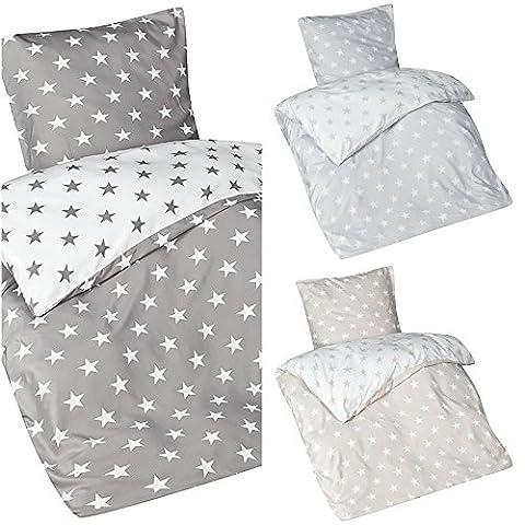Aminata – Bettwäsche 135x200 cm Mikrofaser + Reißverschluss Sterne Grau Anthrazit Weiß Bettbezug Sternchen Stars Wendebettwäsche 2-teiliges Bettwäscheset Bezug Ganzjahr Normalgröße Jungen (Französisch Stil Bett)