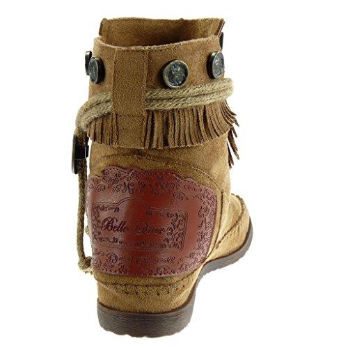 Angkorly - Scarpe Moda Stivaletti Scarponcini stivali con le frange donna frange tanga metallico Tacco a blocco 1.5 CM Khaki