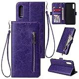 FNBK Kompatibel mit Hülle Samsung Galaxy A50 Handyhülle Leder Handytasche Reißverschluss Brieftasche Flip Case Slim Luxus Schutzhülle Handschlaufe Kredit Karten Magnetische Ständer,Lila -