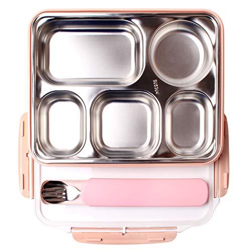 Iadong 304 Edelstahl Isolierte Lunchbox 1,8 l Quadratische Lunchbox mit 5 Fächern BPA-frei Lebensmittelbehälter Carrier Thermo-Lunchbox für Erwachsene Männer Frauen