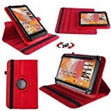 NAUC Hülle für Huawei MediaPad M1 8.0 Tasche Schutzhülle Case Tablet Cover Etui, Farben:Rot