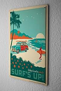 Plaque Émaillée Retro Déco Palm beach surfer voiture 20X30 cm