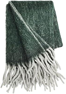 Verde oscuro de color gris claro melierte Chevrons Mohair-Manta 130x 170cm + Flecos