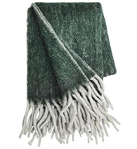 Dark Grey Mottled Green Herringbone Mohair Blanket 130x 170cm + Fringe