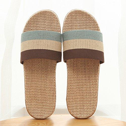 Baoziv587 casa all'aperto pantofole office interior floor estate uomo e donna mobili per la casa leggero e silenzioso traspirante lino paio sandali e ciabatte, 37-38, tri-color bianco polvere blu