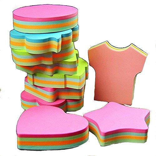 Posten Sie es Super Sticky Notes, Selbstklebende Selbstkleben Abnehmbare Haftnotizen - 6 Pads pro Packung - 100 Blätter pro Pad -Per Pad 4 Farben - Pro Pack 6 Verschiedene Formen Innen-76mm x 76 mm