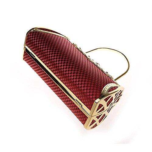 KAXIDY Donna Pochette Borsa Sacchetto Borsetta Da Sera Borsa (Nero) Rosso