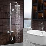 ESNBIA Duschsystem,New Duscharmatur Set Thermostat Brausethermostat Aufputz Dusch Messing Runde Luxus Regendusche Duschkopf Handbrause Duschset Poliert Chrom