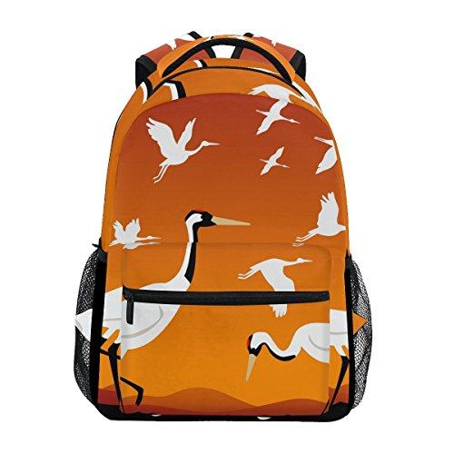 COOSUN Fliegende Kraniche beiläufige Rucksack-Schule-Beutel-Spielraum-Daypack Mehrfarbig