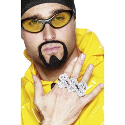Kostüm Silber Dollar - Dollar Ring Silberring Silber Dollarring Rapper Ring Gangster Pimp Proll Schmuck Accessoires