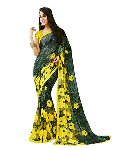 Subhash Sarees Black and Yellow Color Georgette Printed (Floral Print) Saree  available at amazon for Rs.1016