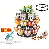 ATMAN Plastic 360 Degree Revolving Round Shape Jar Spice Rack, 5 Stainless Steel Blade with Peeler-2 in 1 (Transparent2, NI-SPICE-ROUND16)