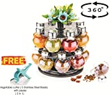 #1: ATMAN Plastic 360 Degree Revolving Round Shape Jar Spice Rack, 5 Stainless Steel Blade with Peeler-2 in 1 (Transparent2, NI-SPICE-ROUND16)