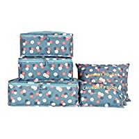 EASEHOME 6 Pack Travel Luggage Organisers 3 Packing Cubes + 3 Compression Pouches Suitcase Organizers Travelling Storage Bags for Clothes Shoes Socks Underwears Cosmetics
