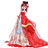 Chinesische alte Braut rotes Brautkleid Puppe, Tang-Dynastie