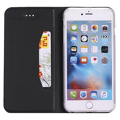 [5.5] BtDuck Cover per iPhone 6 Plus,Cover per iPhone 6S Plus,Glitter Luccichio Modello Ultra Slim Cover Portafoglio Stile Semplice Flip Magnetica Custodia Pelle per iPhone 6 Plus/6S Plus Morbido Sil Nero