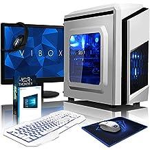 VIBOX Killstreak GL530-240 Paquet Gaming PC - 4,1GHz Intel i5 Quad Core CPU, GPUGT730, Presupuesto, Ordenador de sobremesa para oficina Gaming vale de juego, con monitor, Windows10, Iluminaciàninterna azul (3,5GHz (4,1GHz Turbo) SuperrápidoInteli5 7600Quad 4-CoreCPUprocesador de Kabylake, Tarjeta gráficadedicada de 2GBNvidia GeforceGT730GPU, 32 GB 2133MHzDDR4RAM, Unidad de estadosàlidoSSD de 240GB, Discoduro2TB, 85+ PSU400W, F3 Blanco)