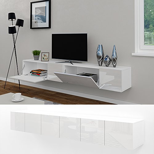 vicco tv lowboard sideboard wandschrank fernsehschrank wohnwand h ngeschrank wei hochglanz. Black Bedroom Furniture Sets. Home Design Ideas
