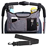 AMZNEVO Best Universal Baby Jogger Stroller Organiser Bag / Buggy Parent console with Shoulder Strap, Two Cup Holders. Extra Storage Space for the Pram Accessories (Grey)