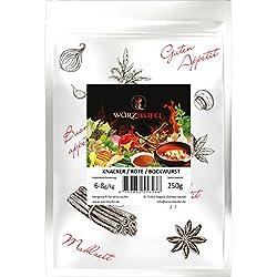 Knacker-, Krainer-, Rote-, Bockwurst-, Gewürzzubereitung. Zusatzstofffreie Gewürzmischung für Brühwürstchen. Beutel: 250g.