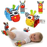 Baby Rattle Toys - Cute Animal Infant 4pcs(2pcs Waist and 2pcs Sozzy Socks) Soft Wrist Bell Strap Rattles and Foot Socks Finder Set Developmental Soft Toys for Kids from Funky Planet