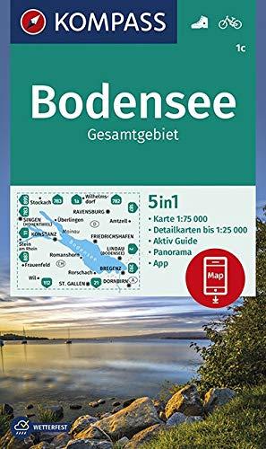 Bodensee Gesamtgebiet: 5in1 Wanderkarte 1:75000 mit Panorama, Aktiv Guide, Detailkarten und Panorama inklusive Karte zur offline Verwendung in der KOMPASS-App. Fahrradfahren. (KOMPASS-Wanderkarten)