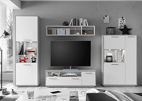 Wohnwand modern in Silbereiche / weiß matt Dekor mit LED Beleuchtung
