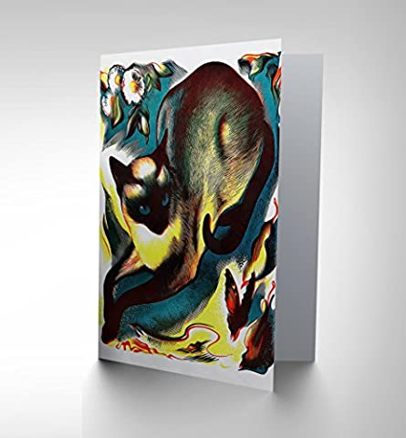 PAINTINGS ANIMAL CAT BUTTERFLY SIAMESE FINE BLANK GREETINGS CARD CP1221