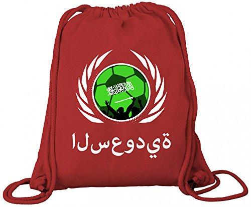 Saudi Arabia Fanfest Fussball WM Bio Baumwoll Turnbeutel Rucksack Gym Bag Fußball Saudi-Arabien Red