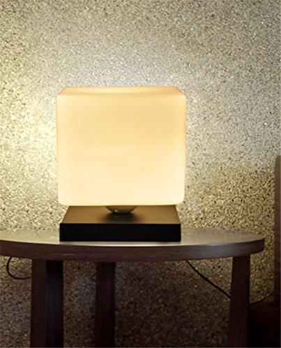 BIUODY Lampada da comodino Atmosfera Lampada Lampada da tavolo camera da letto soggiorno Mini base del ghiaccio del mattone di vetro Lampada da tavolo in legno