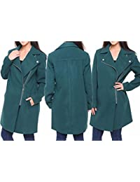 Ex Debenhams, Chain Store, Womens/Ladies Coat/Jacket, Green Faux Wool. Sizes 10-20