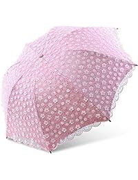 Paraguas De Protección Solar,Paraguas Plegable 3,Compacto Cordón Bordado De Doble Capa Vinilo Protección UV Paraguas De Sol Y Lluvia Sombrillas