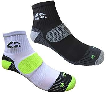 Mens 2 PAIR PACK More Mile cushioned LONDON running sock 1 Black & 1 White