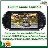 CZT Pantalla de 5 Pulgadas 16GB Videoconsola Retro de 128 bits Consola integrada 1395 Juegos para...