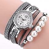 Fittingran Vigilanza del braccialetto del Rhinestone della perla, signora di Clearance di modo Orologi femminili sulla vendita Vigilanza casuale degli orologi per le donne Cassa quadrante (Nero)