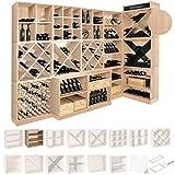 Weinregal / Flaschenregal System CAVEPRO, Regalmodul tief mit 2 Fachböden, Holz Melamin beschichtet, Eiche hell