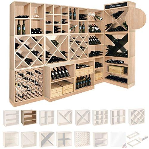 Weinregal / Flaschenregal System CAVEPRO, Regalmodul tief mit 2 Fachböden, Holz Melamin...