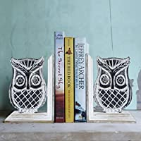 Store Indya, Set di 2 mano decorativi in ??legno intagliato con Mango Owl Design Fine Prenota supporto del basamento fine Bookshelf Organizer Home Office Decor