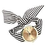 Armbanduhr Damen Uhr Xinnantime Mode Streifen Floralen Stoff Zifferblatt Armband Analoge Quarz Damenuhr Frauen Farbe 3 (Standard, Schwarz)
