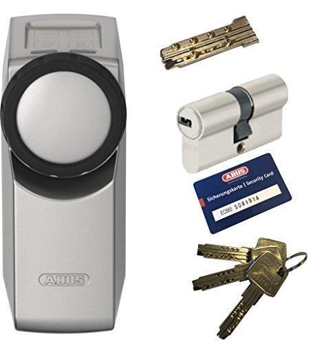ABUS HomeTec Pro CFA3000 S silber + EC660 Doppelzylinder 30/40mm mit Not-u. Gefahrenfunktion, 3 Schlüssel + 1 Antriebsschlüssel