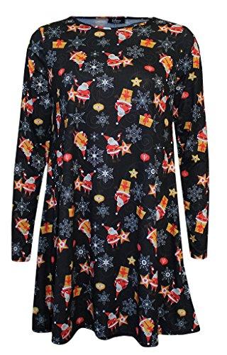 Mode 4 Moins Neuf Femme Grande Taille Manche Longue Noël Swing Robe. ROYAUME-UNI 8-26 Santa Gift