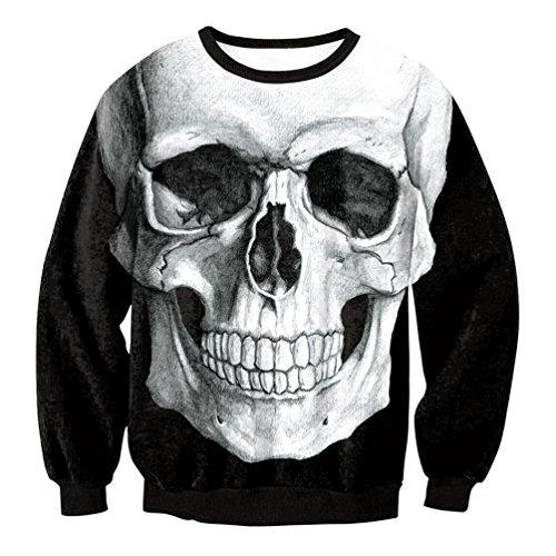 Dooxi Damen Halloween Langarm Skelett Digital Drucken Sweatshirt Pullover Mode Vintage Herbst Winter Sweatshirts Tops Schwarz