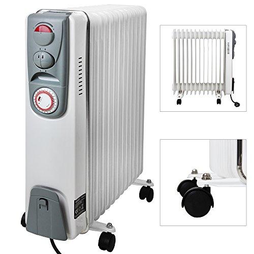 Elektrische Heizung Öl Radiator 13 Rippen 2500W Elektroheizung Mobil Timer Abschaltautomatik stufenlose Temperaturregelung Überhitzungsschutz -