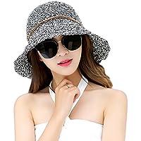 TREESTAR Casquillo casual de Panamá Encantador mujer sombrero de sol de  borde redondo Paja sombrero para c0529f0ba87