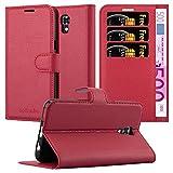 Cadorabo Hülle für LG X Screen - Hülle in Karmin ROT – Handyhülle mit Kartenfach und Standfunktion - Case Cover Schutzhülle Etui Tasche Book Klapp Style