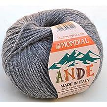 Lane Mondial lana Poto Color 746gris LANA de 100% Alpaca Superfine, lana de alpaca para tejer &