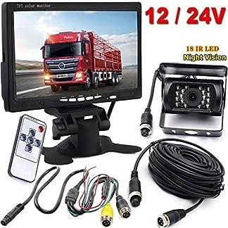 Xinyida-Rckfahrkamera-4-polig-12-V-bis-24-V-18-LEDs-IR-Nachtsicht-wasserdicht-mit-15-m-Kabel-178-cm-Farb-TFT-LCD-HD-Automonitor-fr-Wohnmobil-Bus-LKW-Anhnger