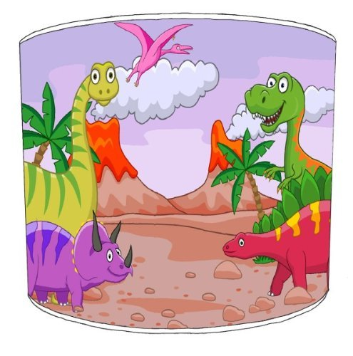 Premier Lampshades lámpara de techo Friendly Dinosaurs Niños Shades, metal papel, Rosa, 30,5 cm