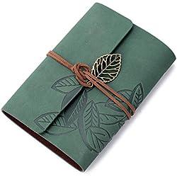 1 x Libreta Cuaderno Agenda Diario Hoja Cuero PU Verde Oscuro para Estudiante
