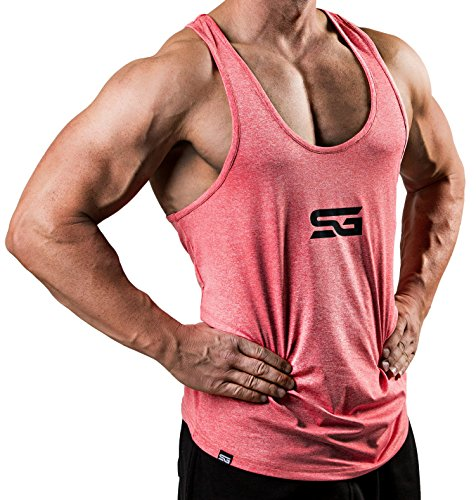 Satire Gym Fitness Stringer Herren - Funktionelle Sport Bekleidung - Geeignet Für Workout, Training - Tank Tops (rot meliert, XL)